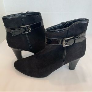 GEORGE brand 11 suede heeled bootie buckle trim